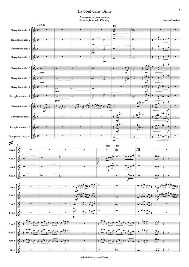 La soul dans l'âme - Ensemble de Saxophones - COLOMBANI L. - Partition