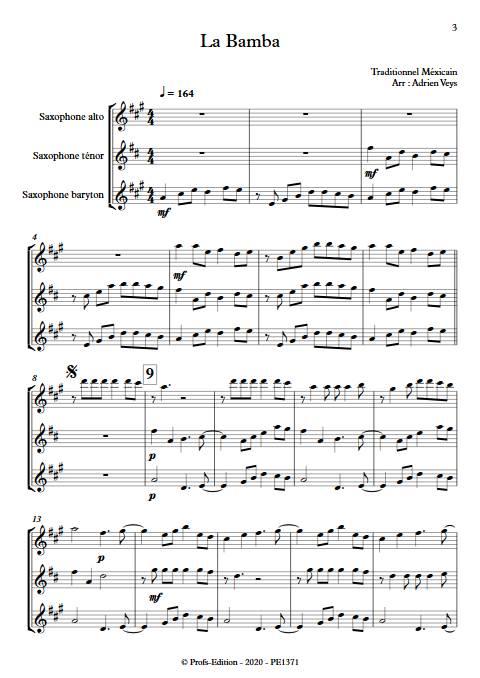 La Bamba - Trio de Saxophones - Traditionnel Mexicain - app.scorescoreTitle