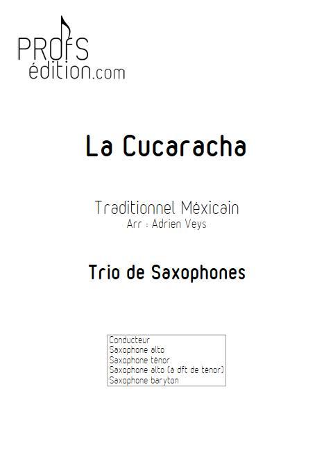 La Cucaracha - Trio de Saxophones - TRADITIONNEL MEXICAIN - page de garde