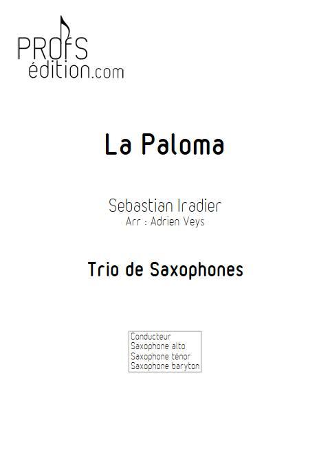 La Paloma - Trio Saxophones - IRADIER s. - page de garde