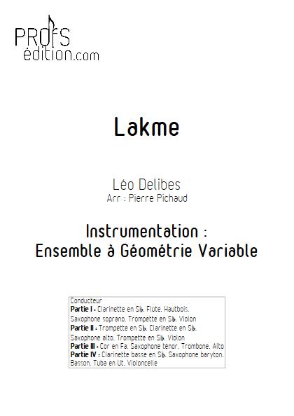 Lakme - Le Duo des Fleurs - Ensemble à Géométrie Variable - DELIBES L. - page de garde