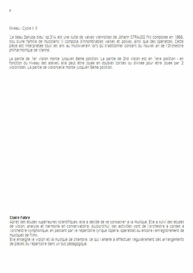 Le Beau Danube Bleu - Trio Violons Violoncelle - STRAUSS J. - Fiche Pédagogique