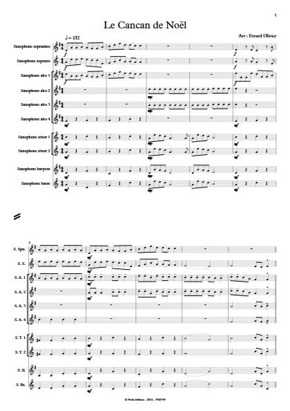Le cancan de Noël - Ensemble de Saxophones - EVRARD O. - Partition