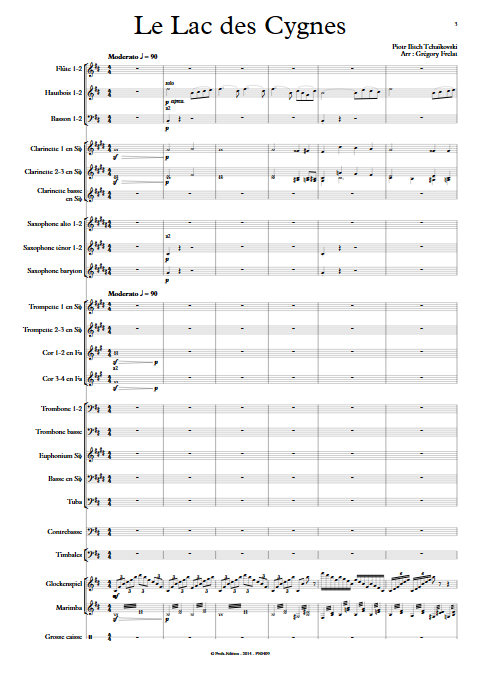 Le Lac des Cygnes - Orchestre d'Harmonie - TCHAÏKOVSKI P. I. - Partition