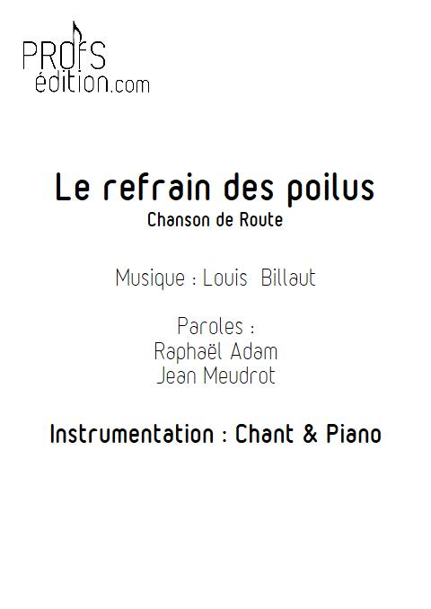 Le refrain des poilus - Piano & Voix - BILLAUT L. - page de garde
