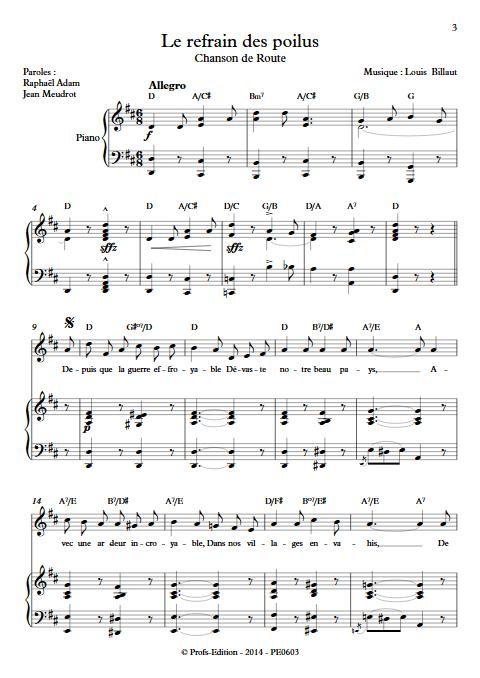 Le refrain des poilus - Piano & Voix - BILLAUT L. - app.scorescoreTitle