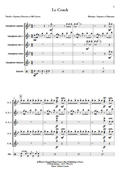 Le Coach - Ensemble de Saxophones - SOPRANO - app.scorescoreTitle