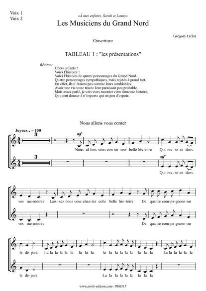 Les musiciens du Grand Nord - Chœur seul- FRELAT G. - page de garde