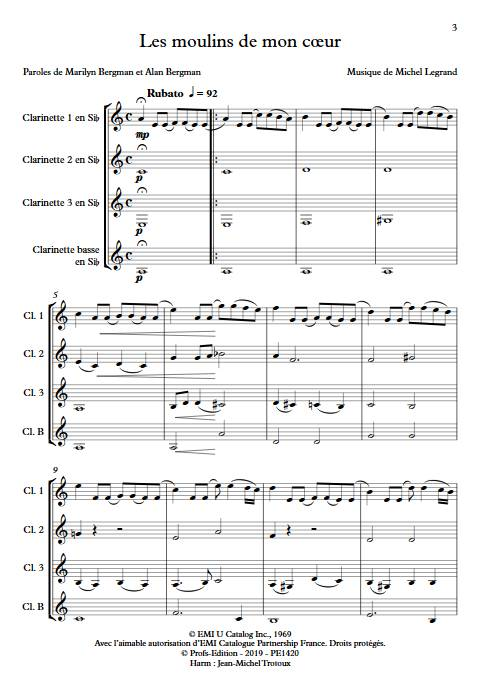 Les moulins de mon coeur - Quatuor de Clarinettes - LEGRAND M. - app.scorescoreTitle