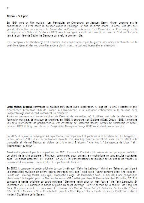 les parapluies de Cherbourg - Quintette à Cordes - LEGRAND M. - Fiche Pédagogique