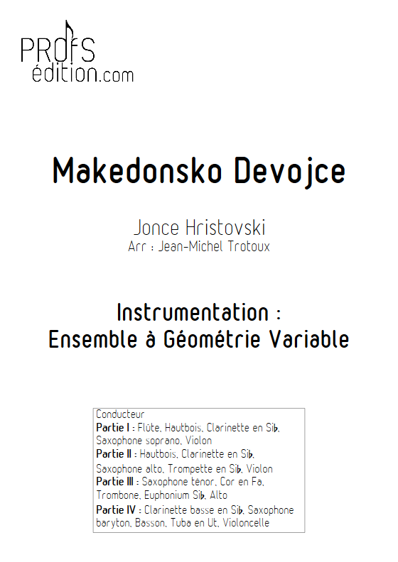 Makedonsko Devojce - Ensemble à Géométrie Variable - HRISTOVSKI J. - page de garde