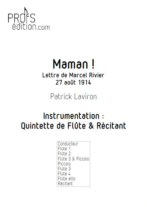 Maman ! - Quintette de Flûtes & Récitant - LAVIRON P. - page de garde