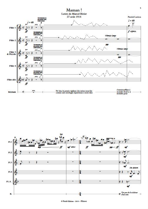Maman ! - Quintette de Flûtes & Récitant - LAVIRON P. - Partition