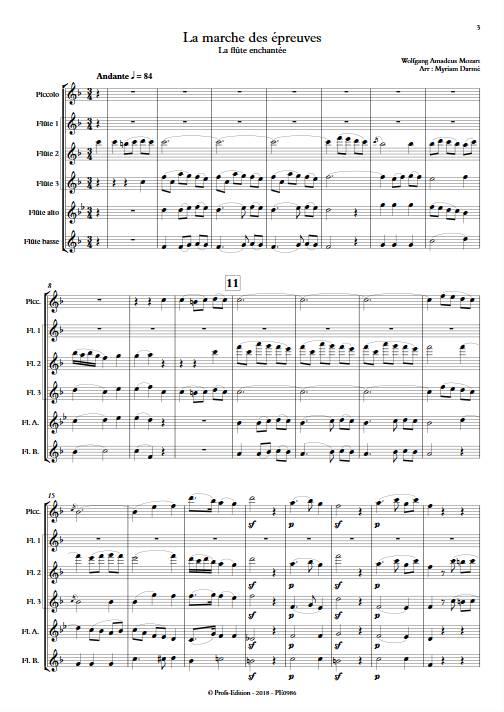Marche des épreuves - Ensemble de Flûtes - MOZART W.A. - Partition