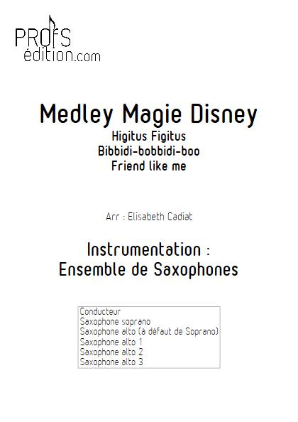 Medley Magie Disney  - Ensemble de Saxophones - DIVERS - page de garde