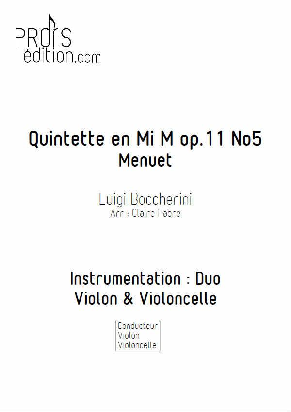 Menuet - Duo Violon Violoncelle - BOCCHERINI L. - page de garde