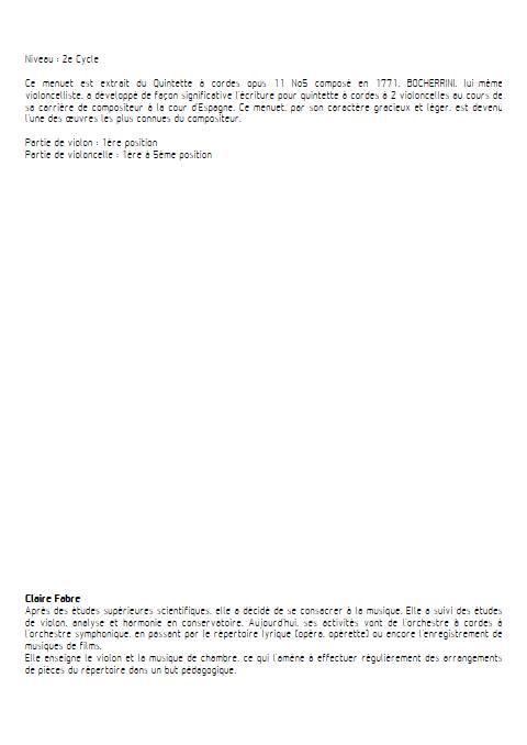 Menuet - Duo Violon Violoncelle - BOCCHERINI L. - Fiche Pédagogique