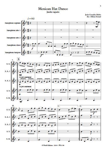 Mexican Hat Dance (Jarabe Tapatio) - Ensemble de Saxophones - RUBIO J. G. - Partition