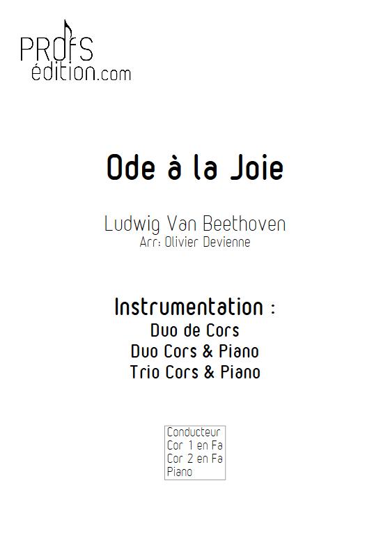 Ode à la joie - Duos, Trio Cors et Piano- BEETHOVEN L. V. - page de garde