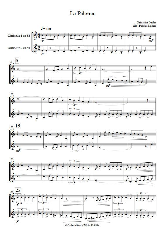 La Paloma - Duo de Clarinettes - IRADIER S. - Fiche Pédagogique