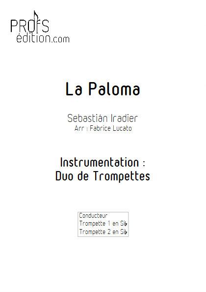 La Paloma - Duo de Trompettes - IRADIER S. - page de garde