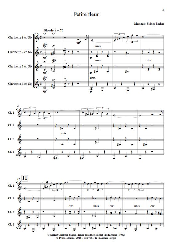 Petite Fleur - Ensemble de Clarinettes - BECHET S. - app.scorescoreTitle