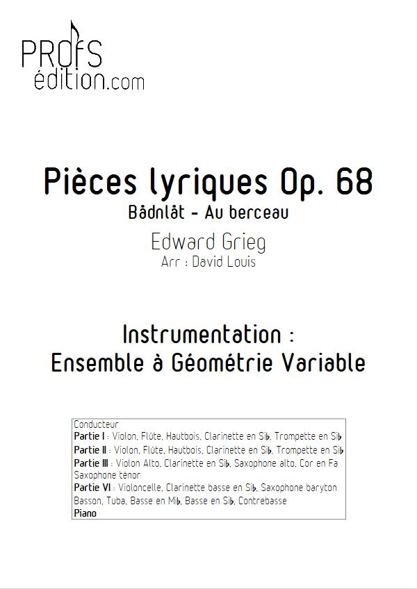 Pièce Lyrique Op.68 - Ensemble à Géométrie Variable - GRIEG E. - page de garde
