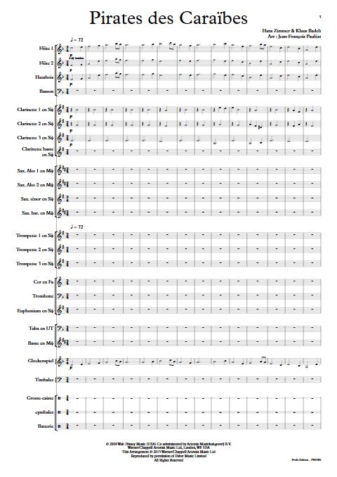 Pirates des Caraïbes - Orchestre d'Harmonie - BADELT K. - Partition
