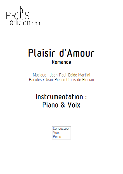 Plaisir d'Amour - Piano & Voix - MARTINI J-P-E - page de garde