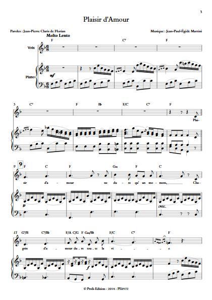 Plaisir d'Amour - Piano & Voix - MARTINI J-P-E - Partition
