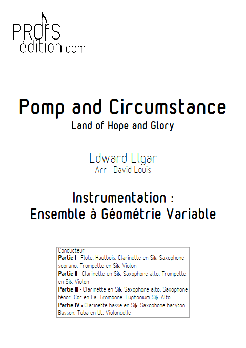 Pomp and Circumstance - Land of hope and glory - Ensemble à Géométrie Variable - ELGAR E. - page de garde