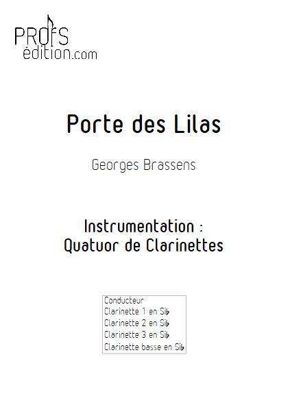 Porte des Lilas - Quatuor de Clarinettes - BRASSENS G. - page de garde