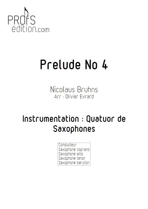 Prélude N°4 - Quatuor de Saxophones - BRUHNS N. - page de garde