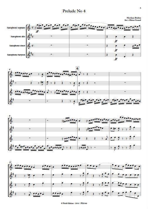 Prélude N°4 - Quatuor de Saxophones - BRUHNS N. - Partition