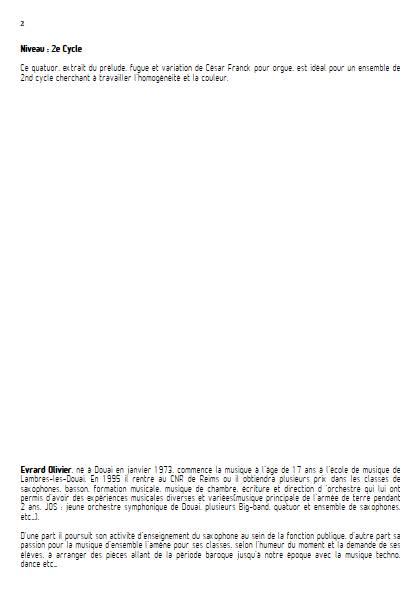 Prelude - Quatuor de Saxophones - FRANCK C. - Fiche Pédagogique