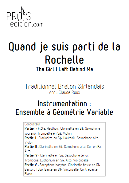 Quand je suis parti de la Rochelle - Ensemble à Géométrie Variable - TRADITIONNEL - page de garde