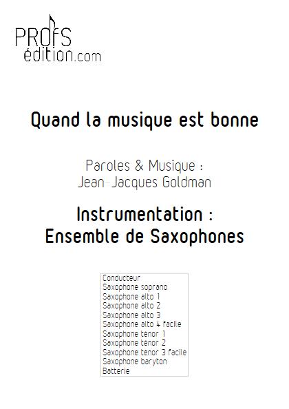 Quand la musique est bonne - Ensemble de Saxophones - GOLDMAN J.J. - page de garde