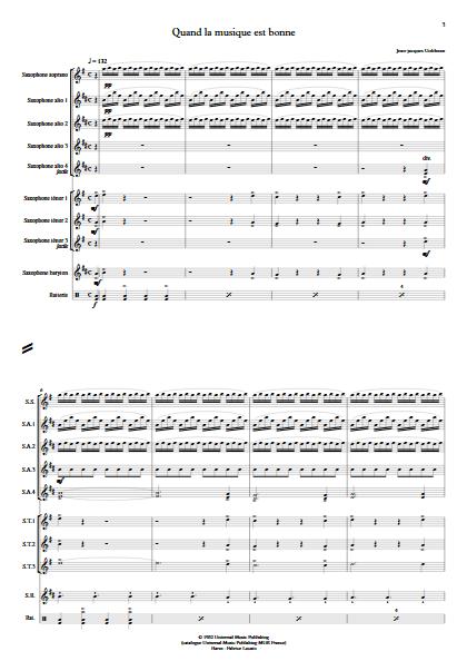 Quand la musique est bonne - Ensemble de Saxophones - GOLDMAN J.J. - Partition