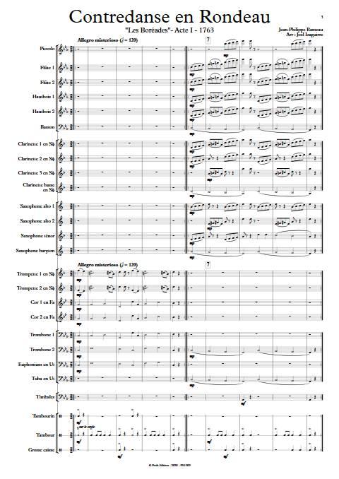 Contredanse en Rondeau - Orchestre d'Harmonie - RAMEAU J-P. - app.scorescoreTitle
