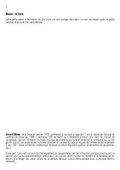 Romance - Quatuor de Saxophones - MOZART W. A. - Fiche Pédagogique