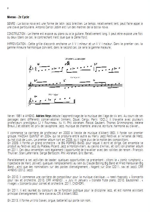 Señorita - Quatuor de Clarinettes - VEYS A. - Fiche Pédagogique