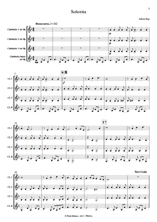 Señorita - Quatuor de Clarinettes - VEYS A. - Partition