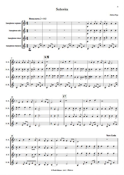Señorita - Quatuor de Saxophones - VEYS A. - Partition