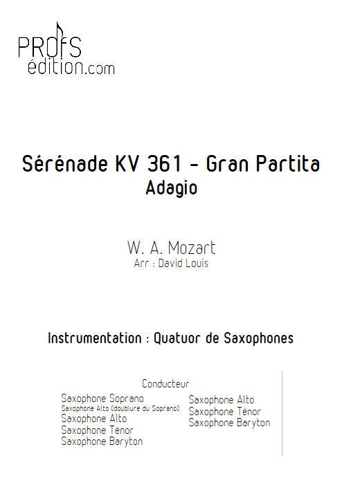 Sérénade KV 361 - Quatuor de saxophones - MOZART W. A. - page de garde