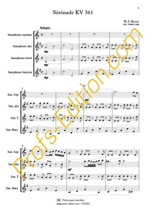 Sérénade KV 361 - Quatuor de saxophones - MOZART W. A. - Partition