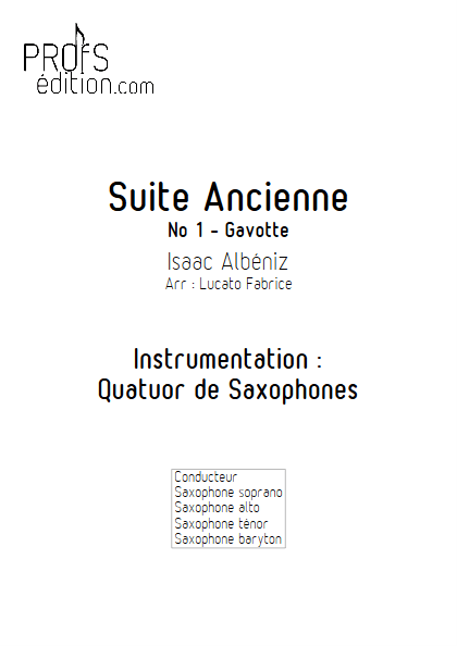 Suite Ancienne (Gavotte) - Quatuor de Saxophones - ALBENIZ I. - page de garde