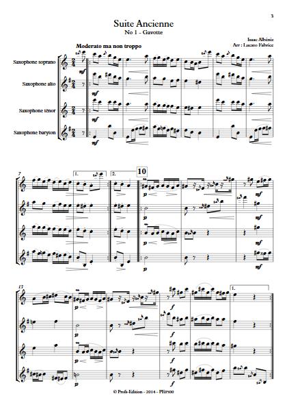 Suite Ancienne (Gavotte) - Quatuor de Saxophones - ALBENIZ I. - Partition