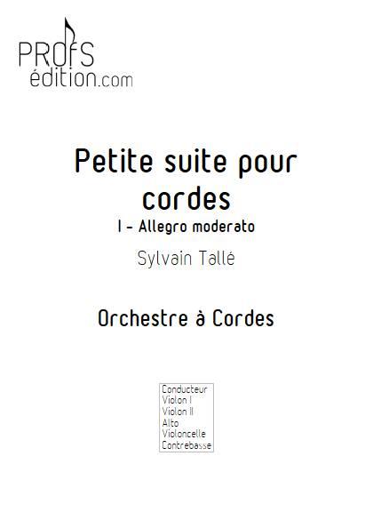 Petite suite pour cordes - 1er mvt - Orchestre à cordes - TALLE S. - page de garde