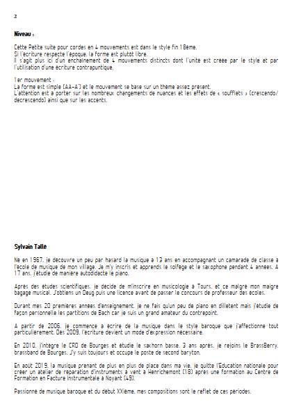 Petite suite pour cordes - 1er mvt - Orchestre à cordes - TALLE S. - Fiche Pédagogique