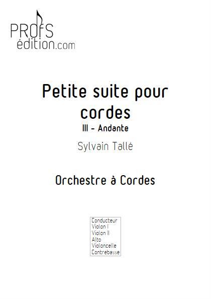 Petite suite pour cordes - 3er mvt - Orchestre à cordes - TALLE S. - page de garde